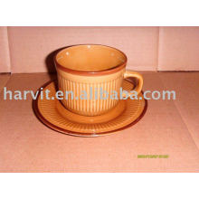 220cc Pure Colored&Decal Stoneware Coffee Cups&Saucers