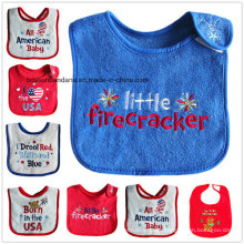 Customized Design Embroidered Cotton Terry Baby Wear Bib