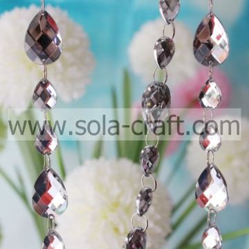 Holiday Inspirations Teardrop Beaded Garland Crystal White Glittery Strings 13*18MM
