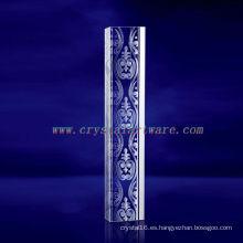 K9 3D Laser Lines grabado cristal con forma de pilar