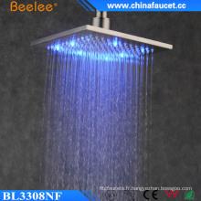 Pomme de douche de plafond de lumière de salle de bains brossée par Ss304 LED