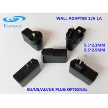 12V 1A todo tipo de enchufes adaptador de pared CCTV fuente de alimentación
