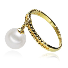 Dangle Drop Gold Plated Silver Cultured Cheap Pearl Ring