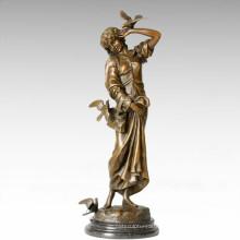 Classical Figure Statue Carrier Pigeon Lady Bronze Sculpture TPE-276