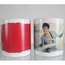 11oz white mug with patch color changing irregular edge red