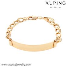 74605 xuping nueva moda pulsera de mujer chapada en oro 18k sin circón