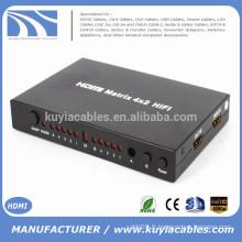 Matrice HDMI haute qualité 4x2 avec convertisseur de télécommande