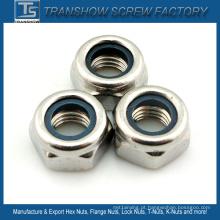 Porca de bloqueio de nylon M10-1.5 SS304 DIN985