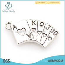 Moroccan silver jewelry alloy playing card charms for charm bracelet