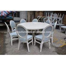 Elegant white round restaurant table and chair set XYN531