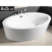 Aokeliya ellipse-shaped soaking freestanding bathtub with shower faucet affordable bathtub for indoor bathroom