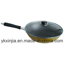 Kitchenware Aluminum Non-Stick Coating Wok with Lid Cookware