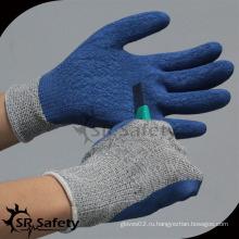 SRSAFETY crinkle латексная ладонь с покрытием HPPE стойкие рабочие перчатки