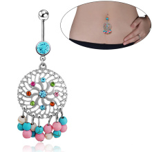 Stainless Steel Colorful Turquoise Garland Pendant Belly Button Ring Body Piercing Jewelry