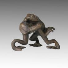 Tier Statue Kleine 2 Frösche Bronze Skulptur Tpal-047