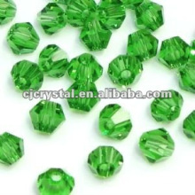 Faceted emerald beads,bicone beads