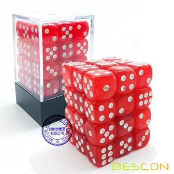 Bescon 12mm 6 caras Dice 36 en Brick Box, 12 mm Six Sided Die (36) Bloque de dados, Marble Red