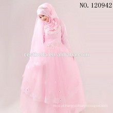2016 Arab Saudi Arabian Vestido de noiva de manga comprida Vestido de noiva muçulmano muçulmano