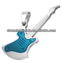 Bijoux en gros de mode bijoux en acier inoxydable Collier pendentif en guitare électrique bleu