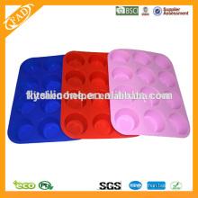 Estándar de la FDA 12 tazas forma redonda muffin molde de silicona