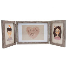Rustic Three Picture Frame 4x6 and 5x7 Wooden Hinged Triple Photo Frames for Desk 3 Opening Family Fathers Gifts