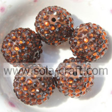 20*22MM Coffee Solid Acrylic Resin Rhinestones Round Beads For Bracelets