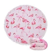 Толстый круглый пляжное полотенце одеяло microfiber Терри пляж Roundie Йога коврик круг с бахромой,высокая стойкость цвета-фламинго