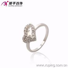 Moda Feminina Elegante Em Forma De Coração De Prata -Plated Jóias CZ Cristal Anel De Dedo -10122
