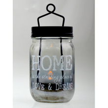 Glass Mason Jar Candle Holder with Decal