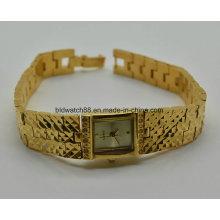 Moda Ladies Jewelry Watch Relógio de pulso de bronze de cobre dourado para presente