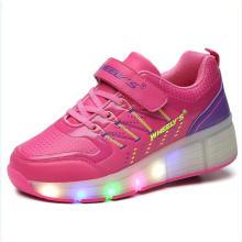 Hecho en precio de fábrica de Jinjiang Los zapatos baratos del rodillo de los adultos con las ruedas retráctiles para la hembra masculina, zapatos del patín del rodillo de los hombres zapatillas de deporte