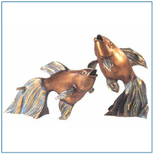 Life Size Brass Fish Sculpture for Garden Decoration