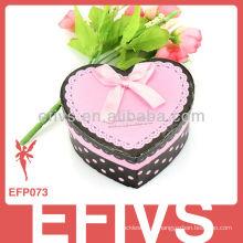 Romatic doce em forma de coração fita Caixas de presente de jóias de papel para brincos