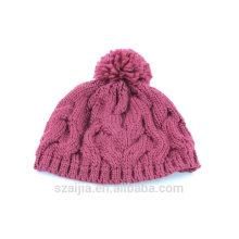 Niñas de moda de acrílico hecho punto sombrero pom