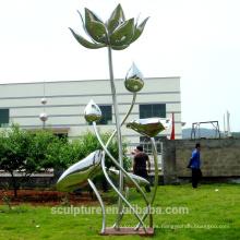 Escultura de acero inoxidable de la escultura de la flor del arte de Lotus para el jardín / al aire libre