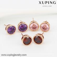 91986- Xuping Jewelry Fashion Boucles d'oreilles en plaqué or 18 carats avec couleur et zircon rond