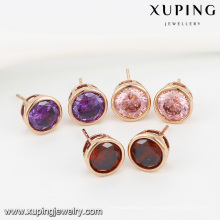 91986- Xuping Jewelry Fashion 18K Gold Plated Stud Earrings With Color and Round Zircon