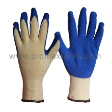 10 Gauge Yellow Tc Gestrickte Handschuhe mit Blue Crinkle Latex Palm Coated