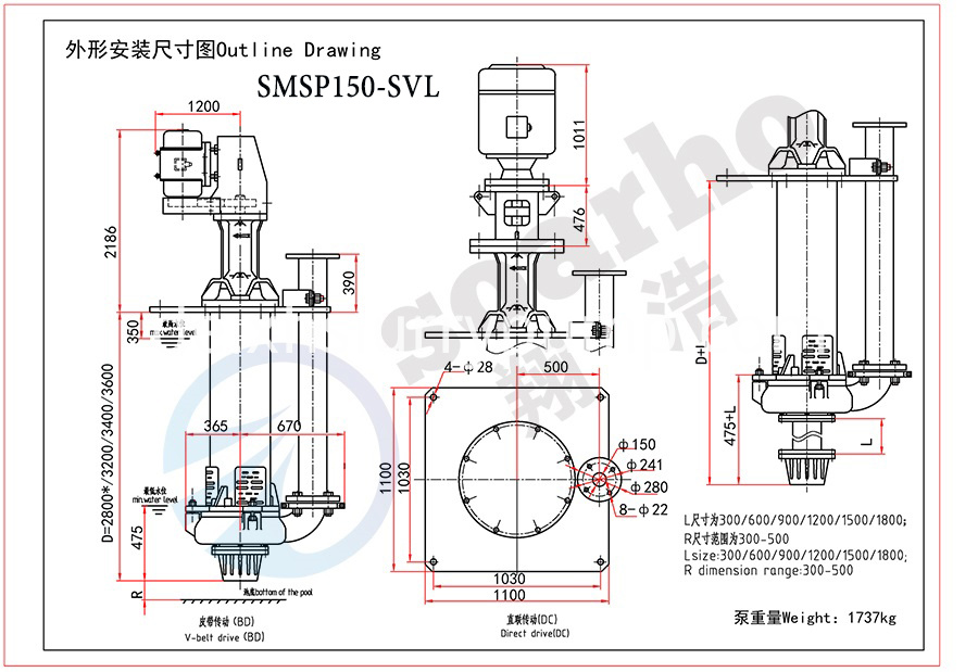 SMSP150-SVL outline drawing