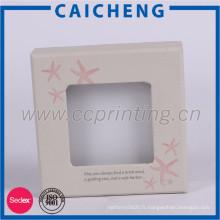 Boîte faite sur commande d'emballage de papier de cadeau de bijoux imprimée par logo avec le couvercle