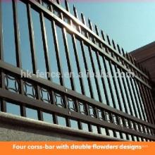 Diseño de valla de estacas de hierro forjado barato de acero recubierto / galvanizado moderno de acero para europeo (fábrica)