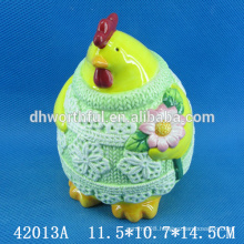 Creative cock ceramic money bank with easter design
