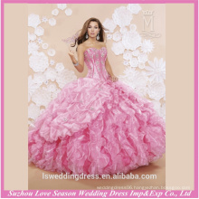 LQ0004 Pink color ruffled organza most beautiful quinceanera dresses western style quinceanera dresses beaded quinceanera dress