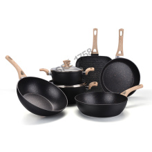 Granite coated wooden handle pans and pots