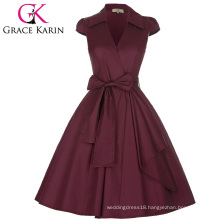 Grace Karin Cap Sleeve Lapel Collar V-Neck High-Stretchy Wine Red Retro Vintage 50s Style Dress CL008953-3