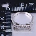 Bogen Design 925 Sterling Silber Kristall Diamant rosa Saphir Ring