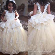 Crystal Beads Flower Girl Dresses Floor Length Corest Back For Girls Kids Prom Dress Ball Gown First Communion Dresses MF893