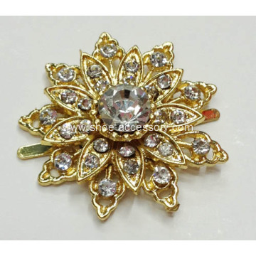 Sunflowers Metal Shoe Clips with Crystal Stone Embellished