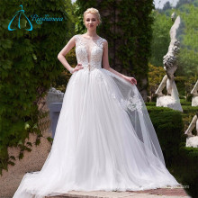 A-Line Lace Appliques Tulle Satin Sexy Wedding Dress