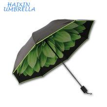 High Quality OEM Customer Flower Full Print Inside 3 Folding Umbrella Corporation China
